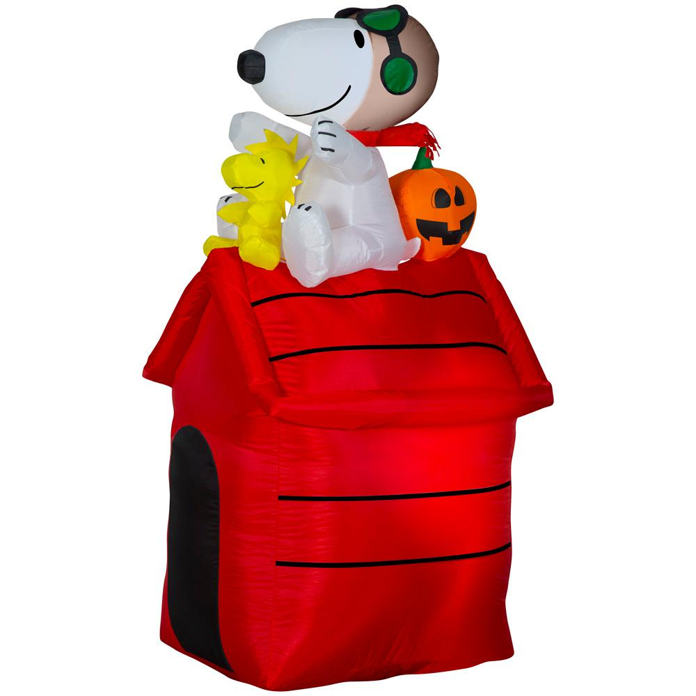 Peanuts 4.5 ft. Pre Lit Inflatable Snoopy as Flying Ace on Dog House-Peanuts Air-Blown