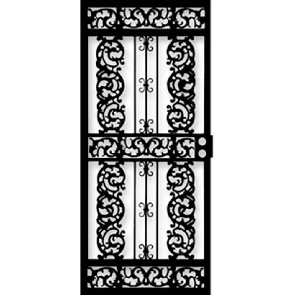 Grisham 36 in. x 80 in. 414 Series Black Elegance Security Door