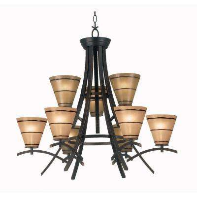 Wright 9-Light Oil Rubbed Bronze Chandelier with Amber Glass Shade