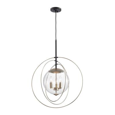Zonas 3-Light Polished Gold and Oil Rubbed Bronze Chandelier