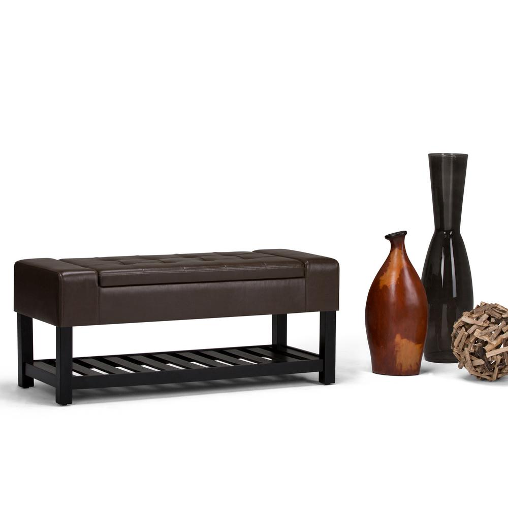 Finley Chocolate Brown PU Faux Leather Storage Ottoman
