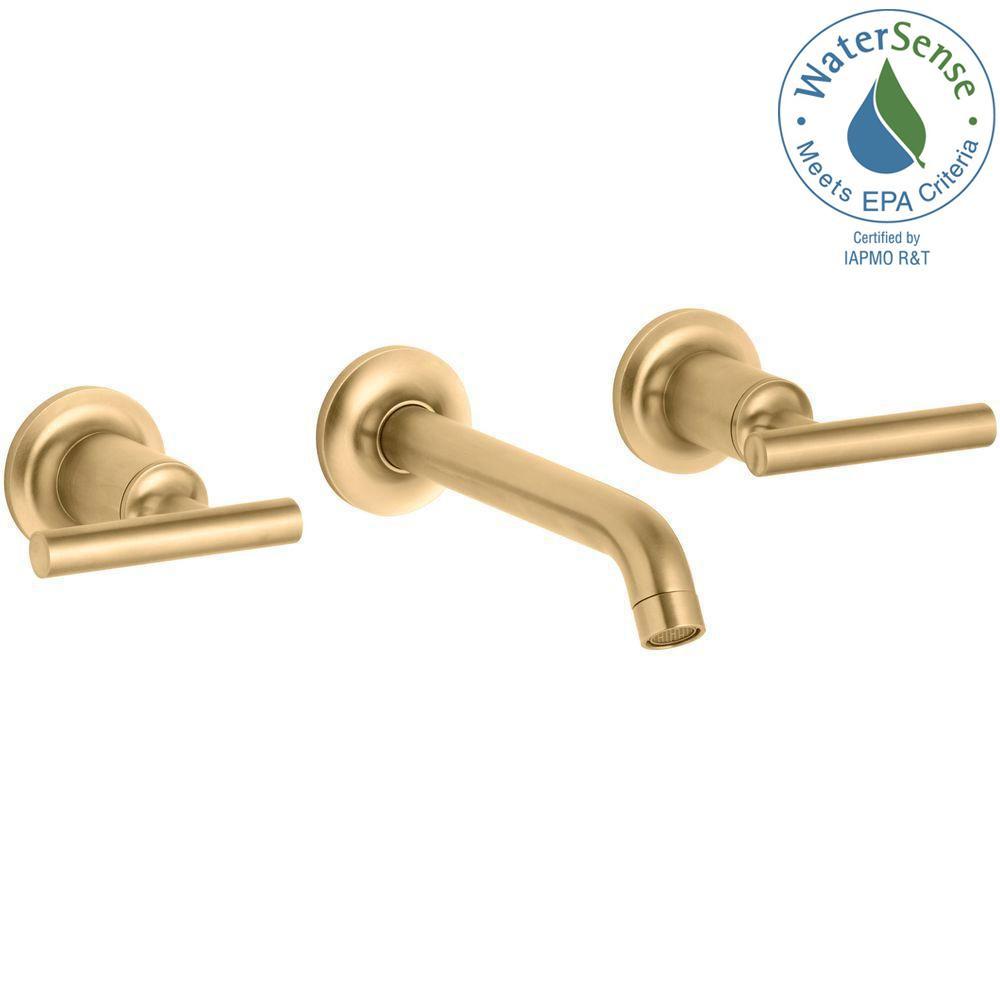 Kohler Purist 2 Handle Wall Mount Water Saving Bathroom Faucet Trim Kit In