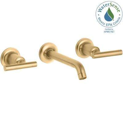 Purist Wall-Mount 2-Handle Water-Saving Bathroom Faucet Trim Kit in Vibrant Modern Brushed Gold (Valve not Included)