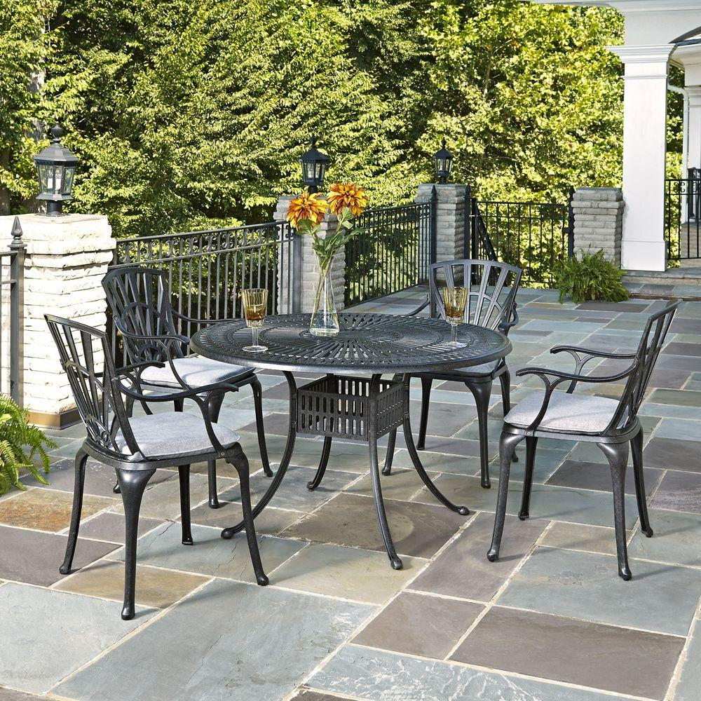 Largo 48 in. Cast Aluminum Outdoor 5-Piece Patio Dining Set with