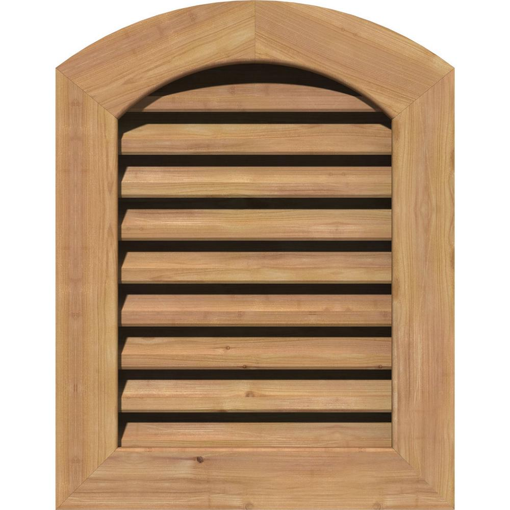 Ekena Millwork 23 in. x 35 in. Smooth Western Red Cedar Functional Gable Vent with Flat Trim Unfinished (18 in. x 30 in. Rough Opening)
