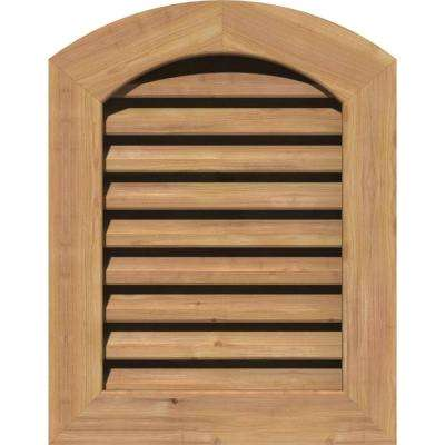 23 in. x 35 in. Smooth Western Red Cedar Functional Gable Vent with Flat Trim Unfinished (18 in. x 30 in. Rough Opening)