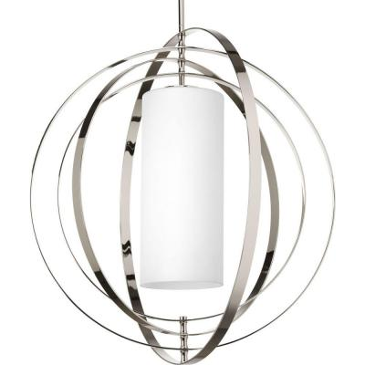 Equinox 1-Light Polished Nickel Pendant with Opal Etched Glass