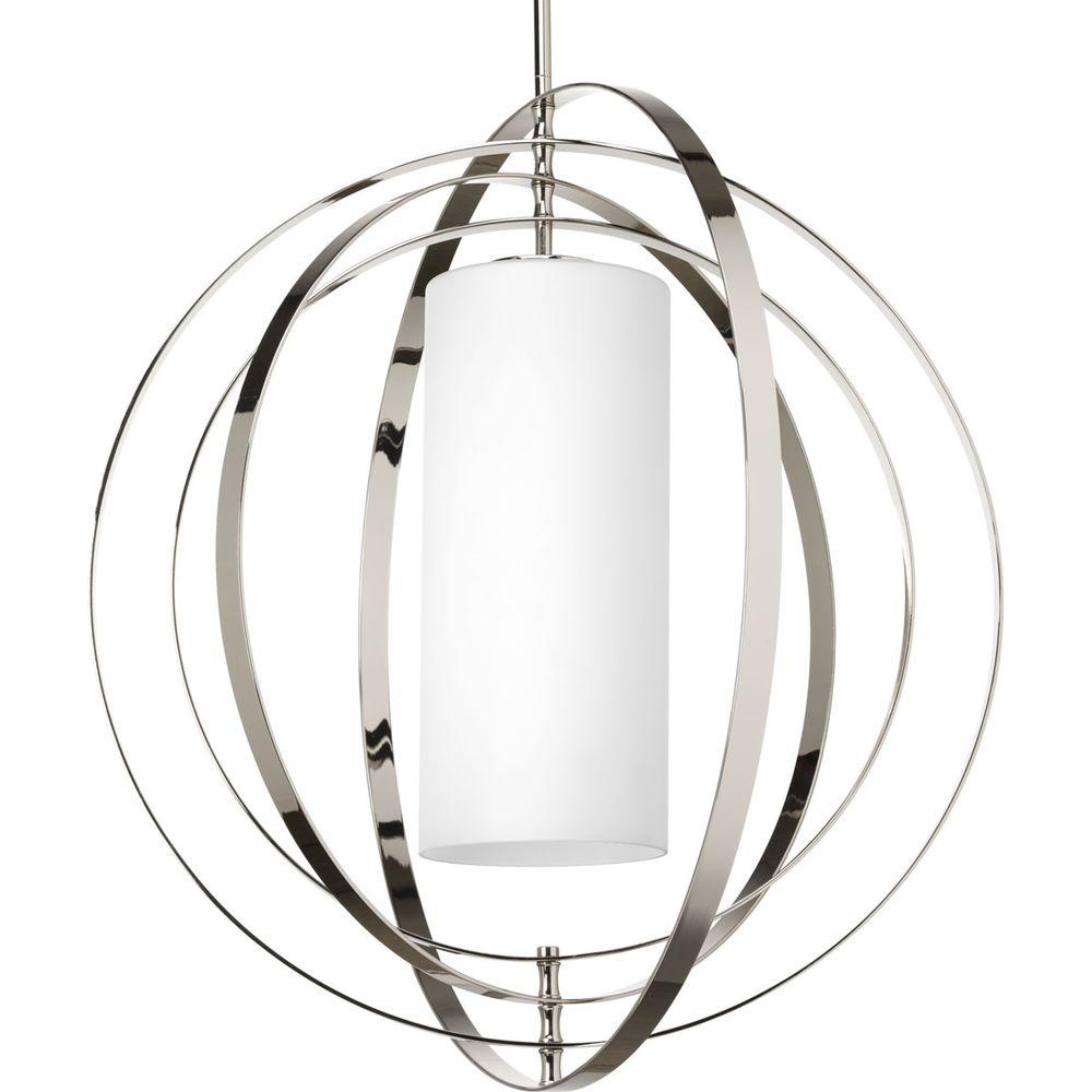 Equinox Collection 1-Light Polished Nickel Pendant with Opal Etched Glass