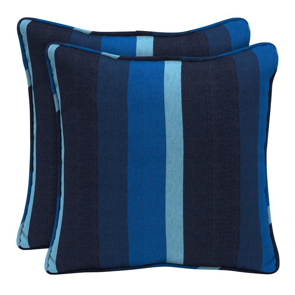 Home Decorators Collection Sunbrella Gateway Indigo Square Outdoor Throw Pillow (2-Pack)