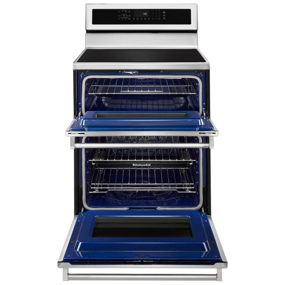 Kitchenaid 67 Cu Ft Double Oven Electric Induction Range With Self Cleaning Convection Oven In Stainless Steel