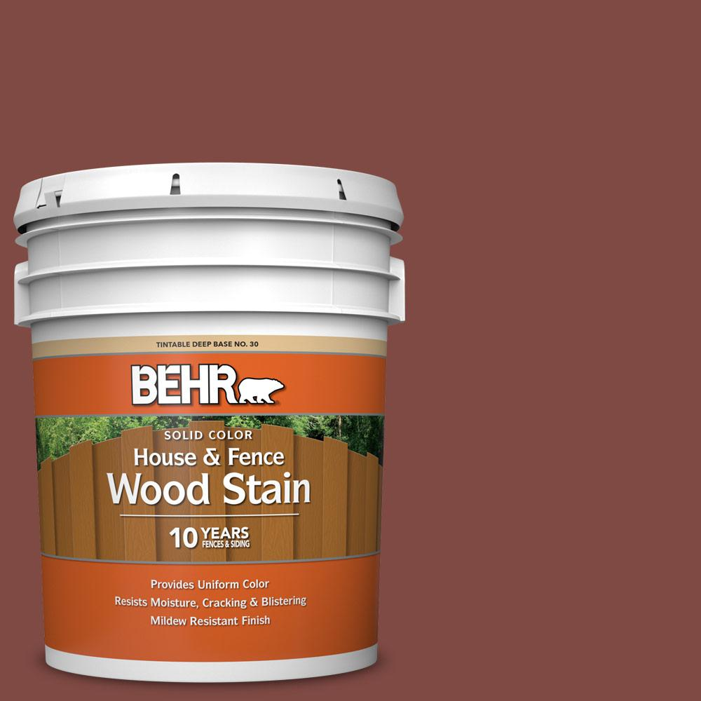 BEHR 5 gal. #SC-112 Barn Red Solid Color House and Fence Exterior Wood Stain
