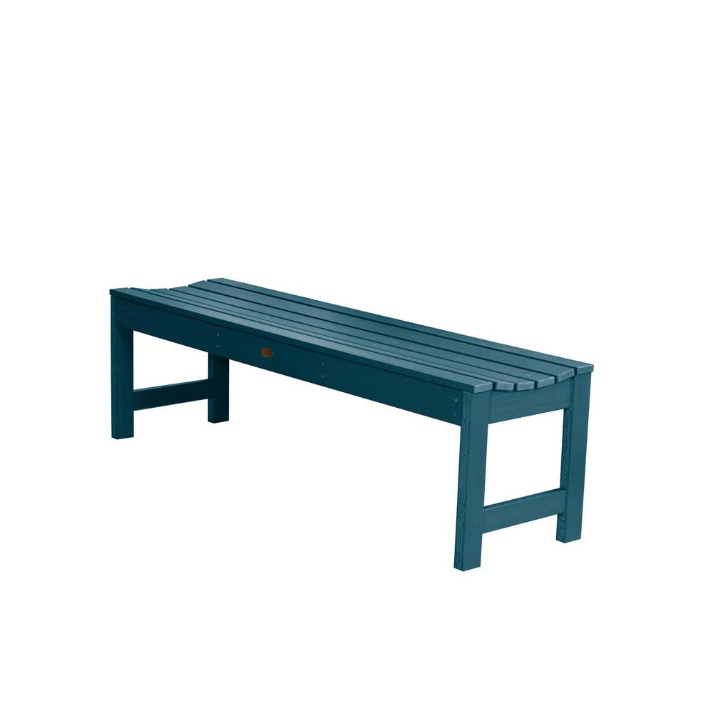 Tremendous Highwood Lehigh 60 In 2 Person Nantucket Blue Recycled Plastic Outdoor Picnic Bench Machost Co Dining Chair Design Ideas Machostcouk