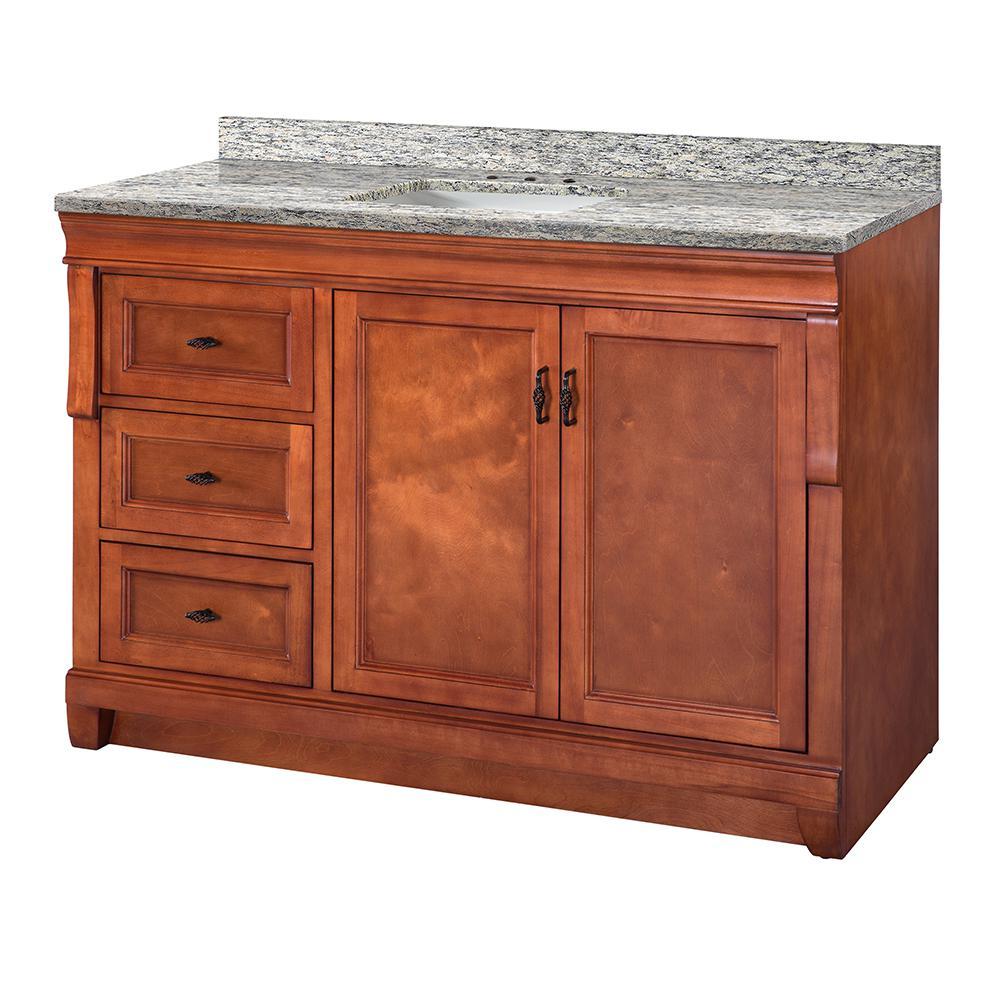 Naples 49 in. W x 22 in. D Vanity in Warm Cinnamon with Granite Vanity Top in Santa Cecilia with White Sink