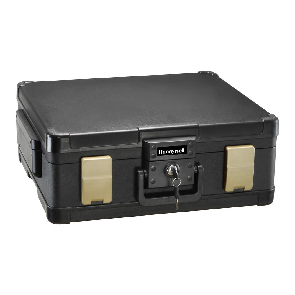 Honeywell 0 39 cu  ft  Molded Fire Resistant and Waterproof Legal Document  Storage Chest with Key and Double Latch Lock