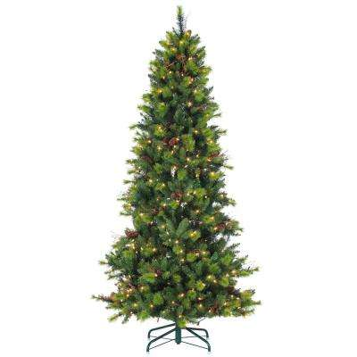 7.5 ft. Pre-Lit Mixed Needle Michigan Spruce Artificial Christmas Tree with Clear Lights