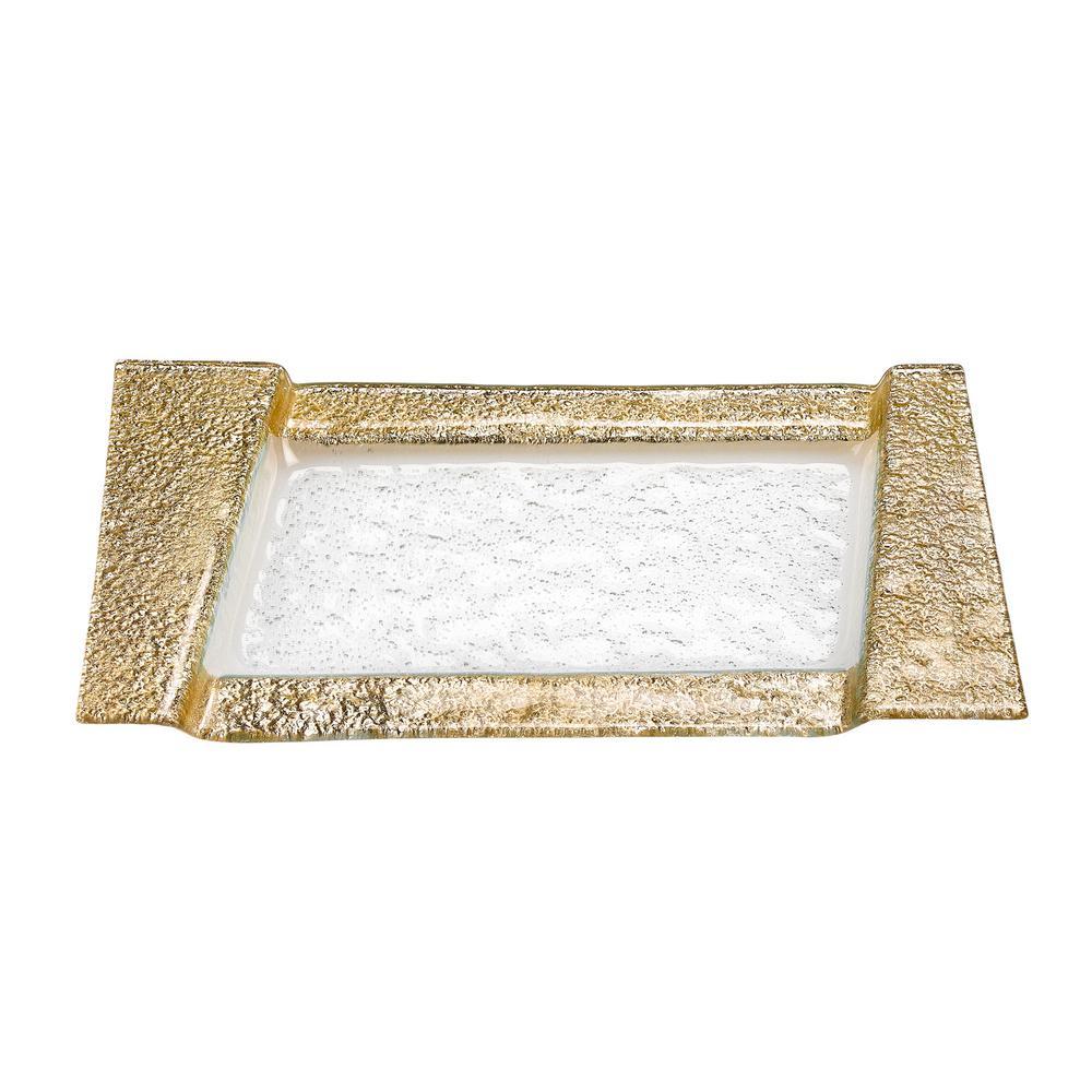 7 in. x 13 in. Rimini Silver Decor Glass Snack/Vanity Tray