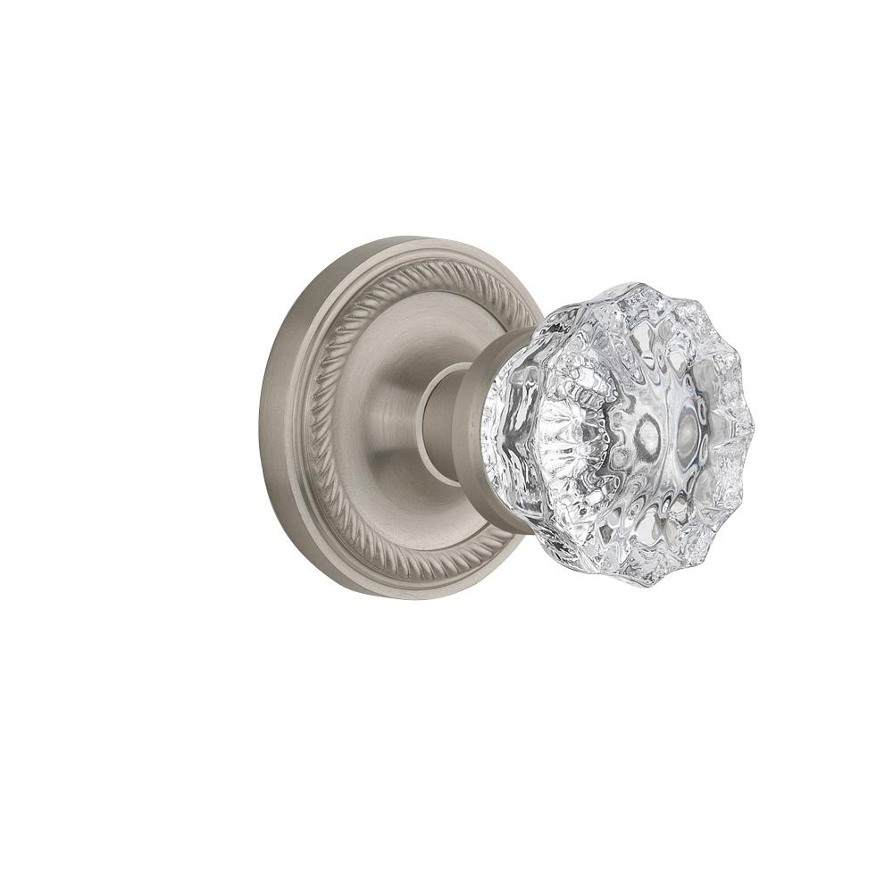 Rope Rosette Interior Mortise Crystal Glass Door Knob in Satin Nickel