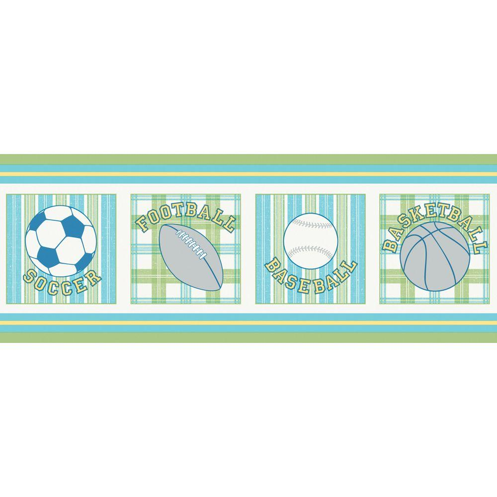 The Wallpaper Company 10.25 in. x 15 ft. Blue and Green Vintage Varsity Border