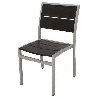 Surf City Textured Silver Patio Dining Side Chair with Charcoal Black Slats