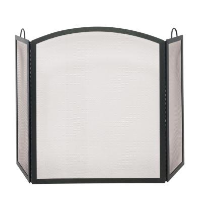 Black 56 in. W 3-Panel Steel Frame Arch Top Fireplace Screen with Integrated Handles
