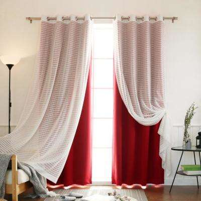 84 in. L uMIXm Cardinal Red Sheer Checkered and Blackout Curtain (4-Pack)