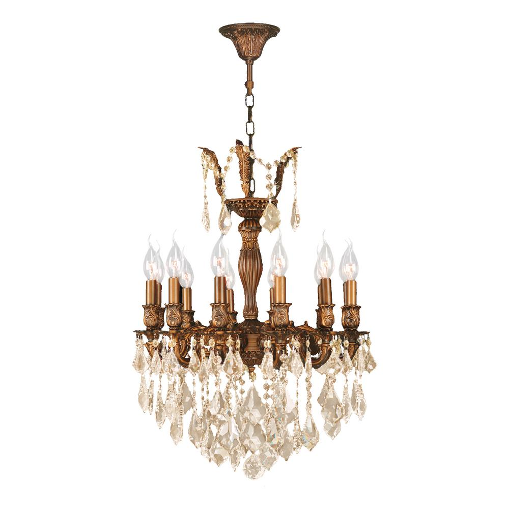Versailles 12-Light French Gold Chandelier with Golden Teak Crystal