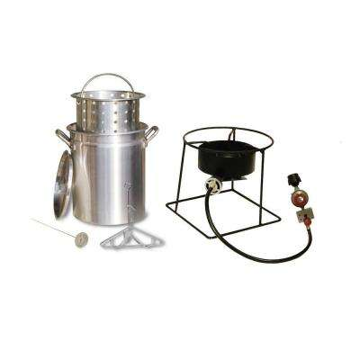 38,000 BTU Propane Gas Outdoor Turkey Fryer with 29 qt. Pot, Steamer Basket and Battery Operated Timer