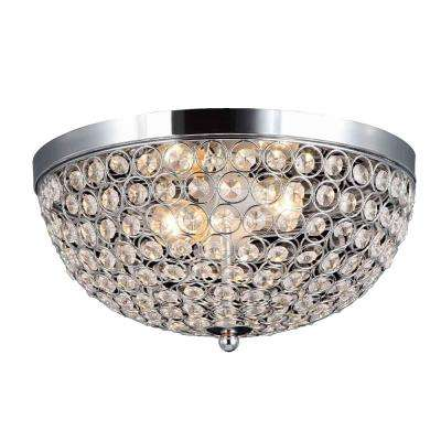 Elipse 13 in. 2-Light Chrome and Crystal Flushmount