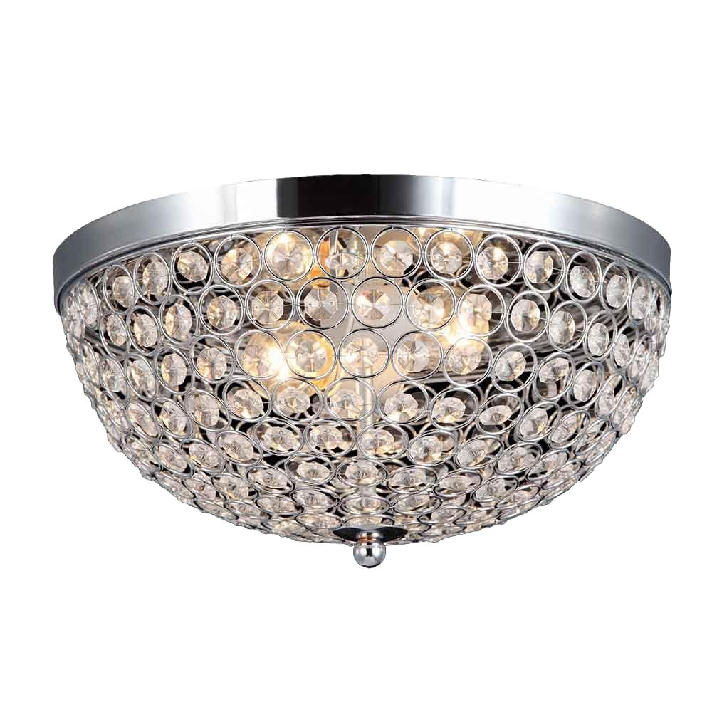Elegant Designs Elipse 13 In 2 Light Chrome And Crystal Flushmount