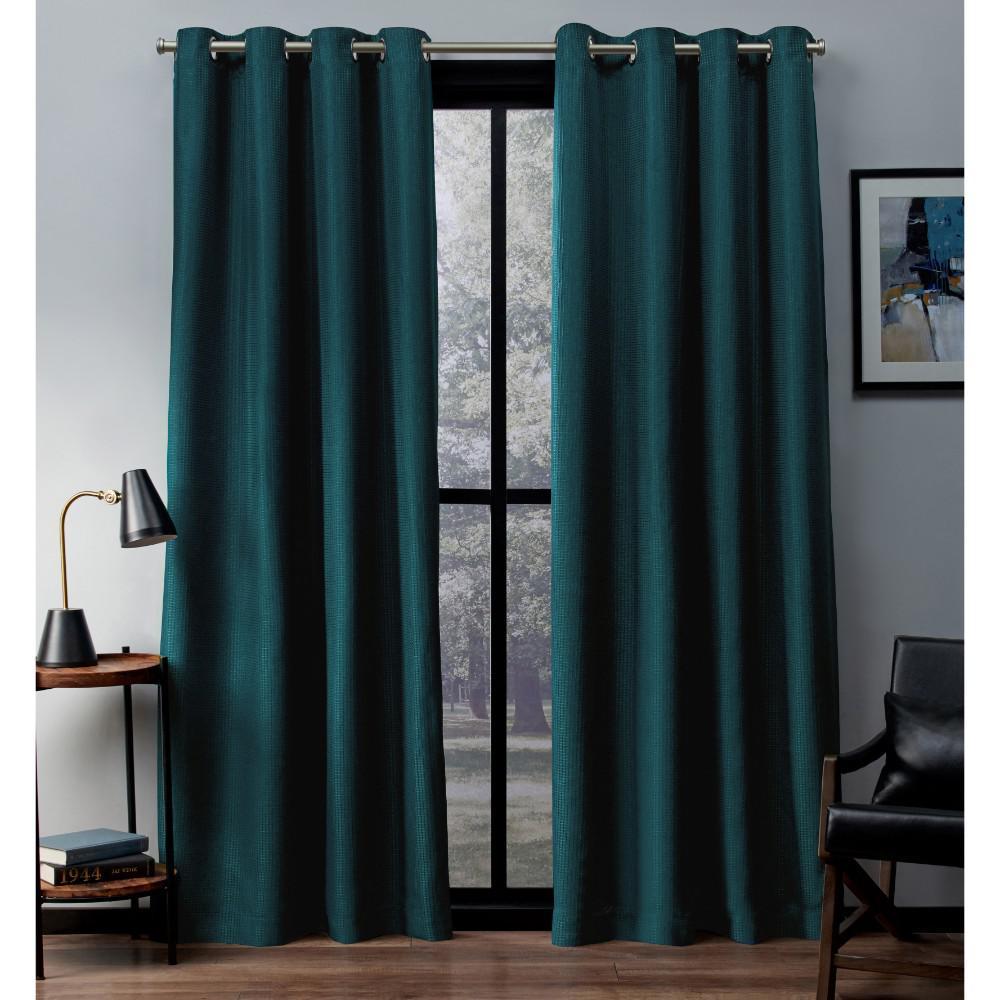Eglinton 52 in. W x 108 in. L Woven Blackout Grommet Top Curtain Panel in Teal (2 Panels)