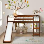 Walnut Wood Twin Loft Bed with a Slide