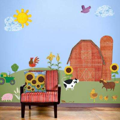 Farm Red Peel and Stick Removable Wall Decals Barnyard Theme Wall Mural (35-Piece Jumbo Set)