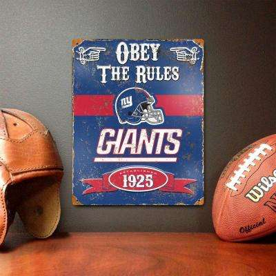 14.5 in. H x 11.5 in. D Heavy Duty Steel New York Giants Embossed Metal Sign Wall Art