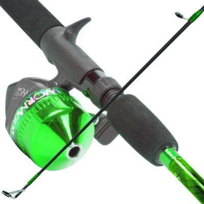Worm Gear Fishing Rod and Spincast Reel Combo in Green