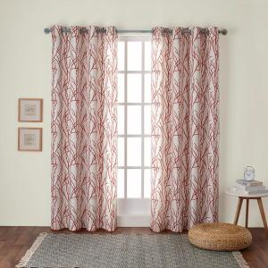 Branches 54 in. W x 96 in. L Linen Blend Grommet Top Curtain Panel in Mecca Orange (2 Panels)