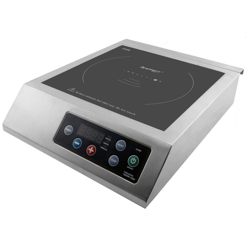 Professional 13 in. Induction Cooktop in Silver with 1-Element