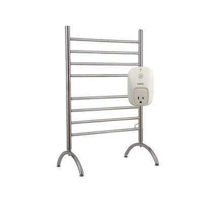 Barcelona 8-Bar Electric Towel Warmer in Brushed Stainless Steel with WeMo Switch