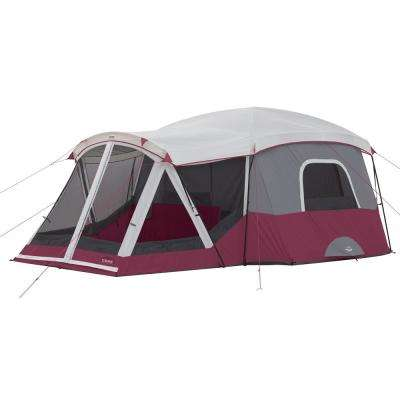 11-Person Family Outdoor Camping Cabin Tent with Screen Room in Red