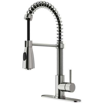 Brant Single-Handle Pull-Down Sprayer Kitchen Faucet with Deck Plate in Stainless Steel