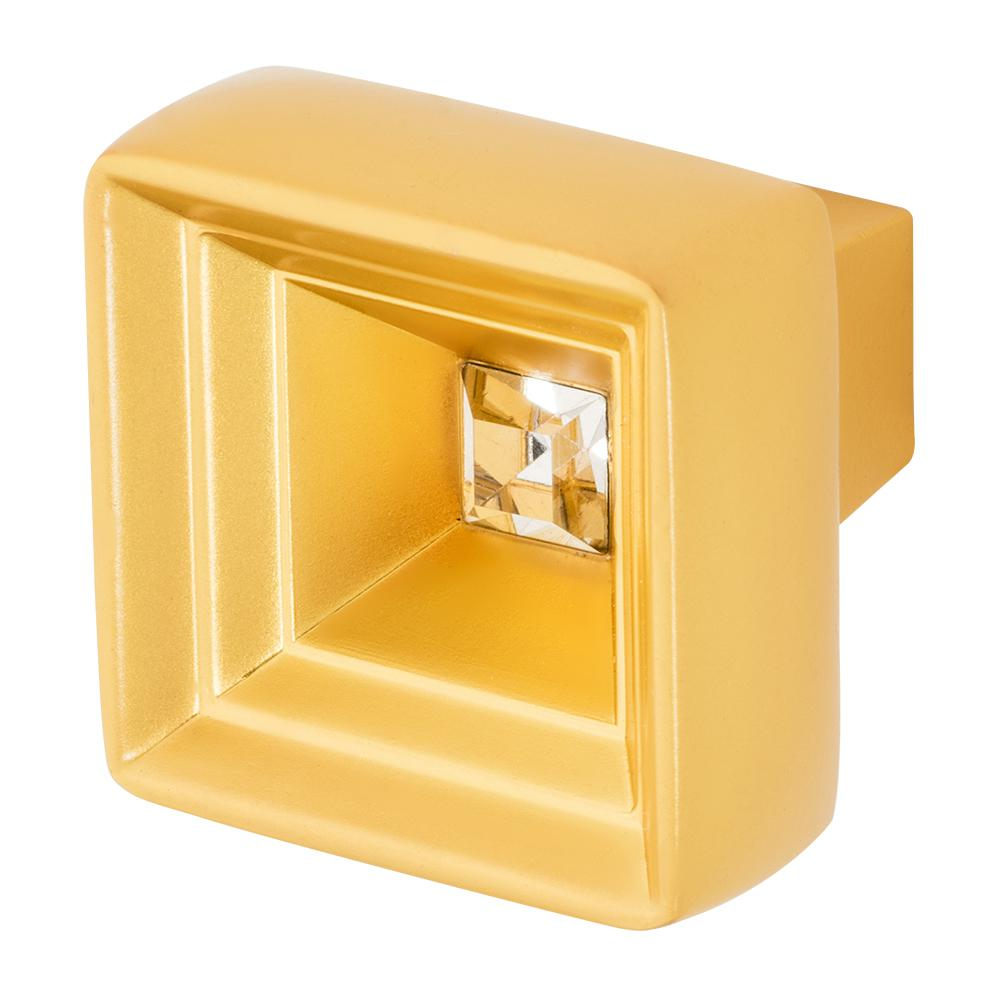 Hidden Treasure 1-1/16 in. Satin Gold with Clear Crystal Cabinet Knob