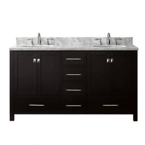 Virtu USA Caroline Avenue 60 inch W x 22 inch D Double Vanity in Espresso with Marble Vanity Top in White with White... by Virtu USA