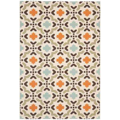 Veranda Cream/Terracotta 8 ft. x 11 ft. Indoor/Outdoor Area Rug