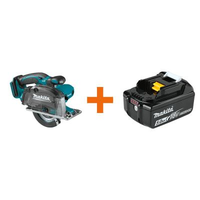 18V LXT Cordless 5-3/8 in. Metal Cutting Saw with Electric Brake & Chip Collector with bonus 18V LXT Battery Pack 5.0Ah