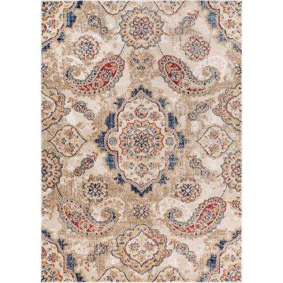 Luxury Biju Beige 5 ft. x 7 ft. Traditional Paisely Distressed Area Rug