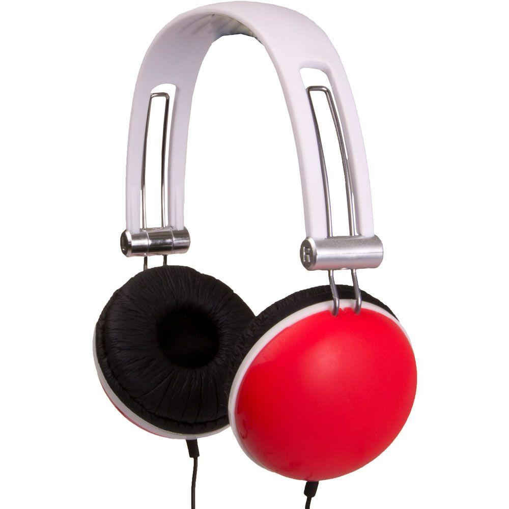QFX 3-In-1 DJ Stereo Headphones with Matching Earbuds and Splitter- Red