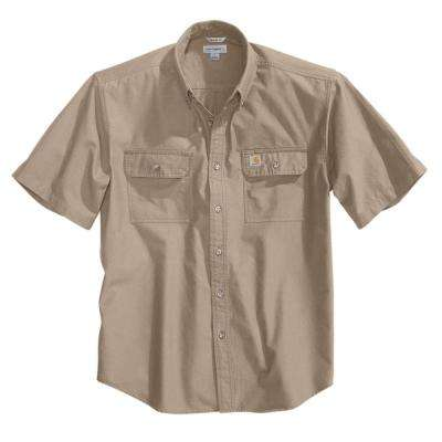 Men's Regular X Large Dark Tan Chambray Cotton Short-Sleeve Wovens