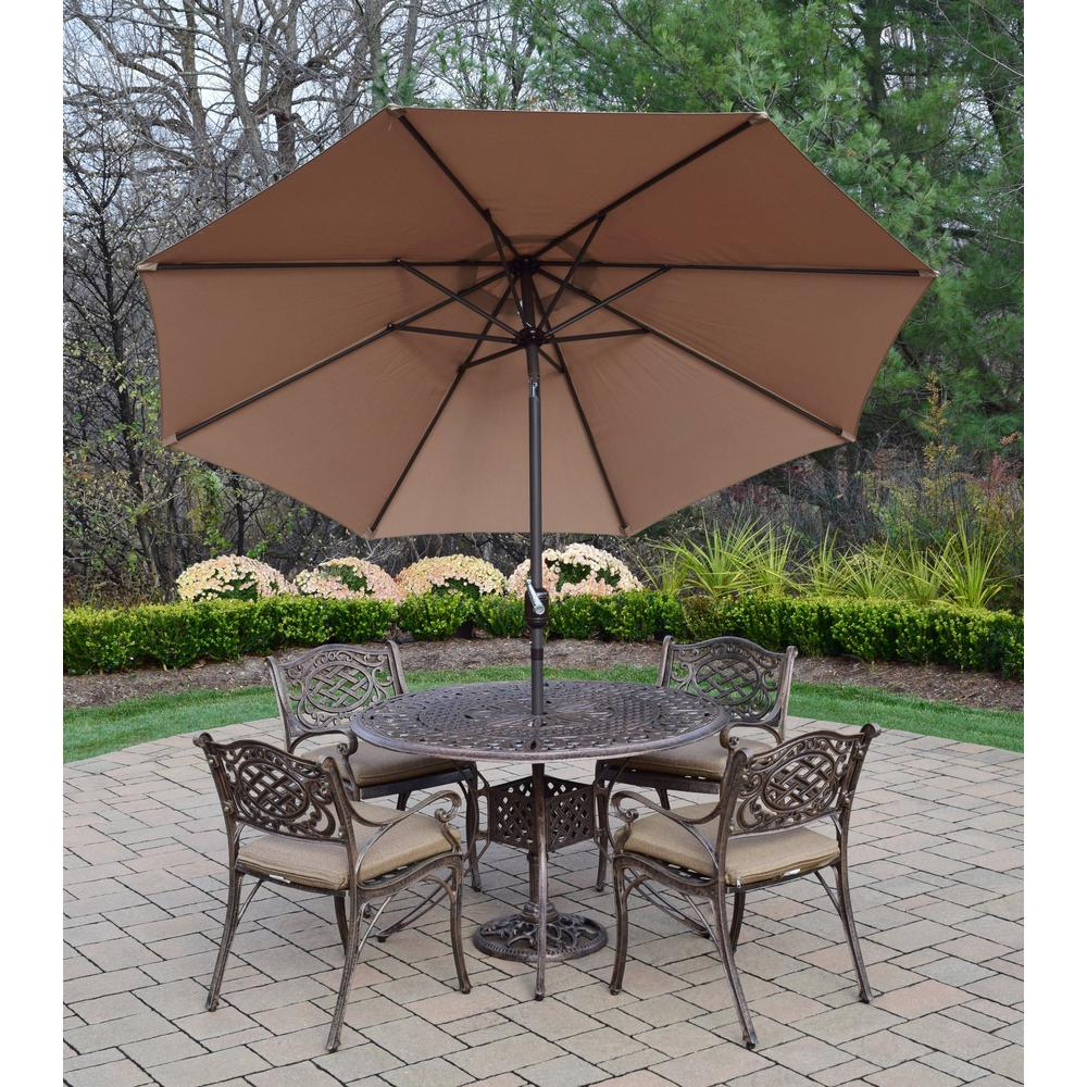 7-Piece Aluminum Outdoor Dining Set with Sunbrella Beige Cushions and Champagne