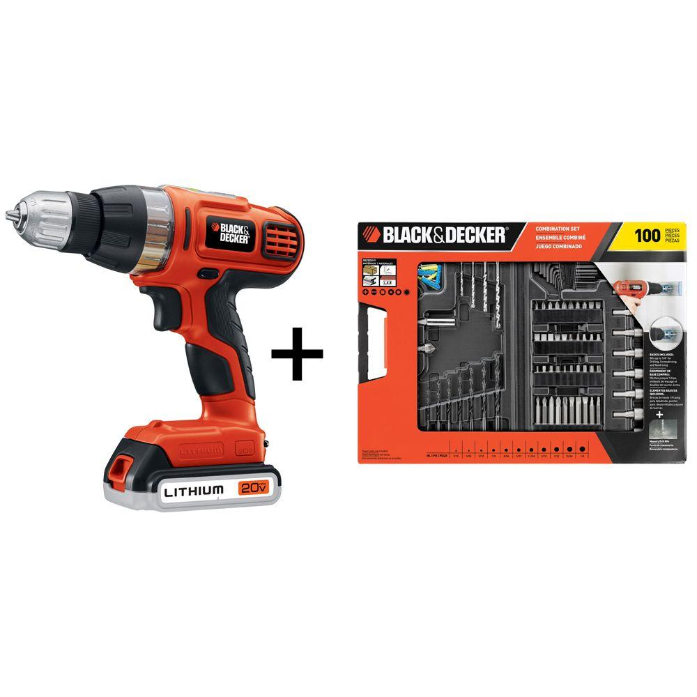 BLACK+DECKER 20-Volt MAX Lithium-Ion Cordless Drill/Driver and 100-Piece Accessory Kit
