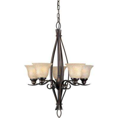 5-Light Antique Bronze Chandelier with Mica Flake Glass