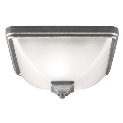 Irving Park 1-Light Weathered Pewter Outdoor Ceiling Flushmount with Satin Etched Glass
